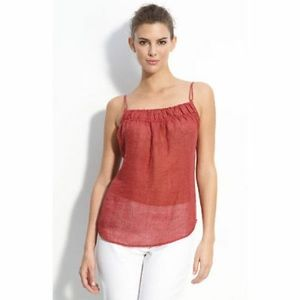 Eileen Fisher Sandalwood Red Linen Gauze Top Large